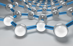 Graphene Surface, Blue Bonds, Silver Atoms. 3D Computer Graphics, Carbon Nanostructure Royalty Free Stock Images