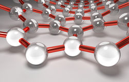 Graphene Surface, Silver Atoms, Red Bonds. 3D Computer Graphics, Carbon Nanostructure Stock Image