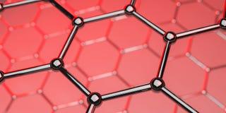 Graphene technologii cz?steczkowa nano struktura na czerwonym tle - 3d rendering zdjęcia royalty free