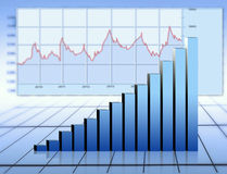 Graphic. Blue finance graph  and diagram Royalty Free Stock Photos