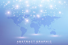 Graphic abstract background communication. Big data complex with compounds. Perspective backdrop with World Map. Minimal Royalty Free Stock Images