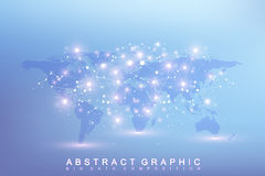 Graphic abstract background communication. Big data complex with compounds.. Perspective backdrop with World Map. Minimal array Big data. Digital data Stock Images