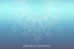 Graphic abstract background communication. Big data visualization. Connected lines with dots. Social networking stock illustration