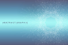 Graphic abstract background communication. Big data visualization. Connected lines with dots. Social networking. Illusion of depth and perspective. Vector Royalty Free Illustration