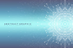 Graphic abstract background communication. Big data visualization. Connected lines with dots. Social networking Royalty Free Stock Image