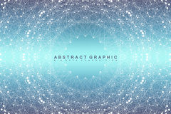 Graphic abstract background communication. Big data visualization. Connected lines with dots. Social networking. Illusion of depth and perspective. Vector Royalty Free Stock Photo