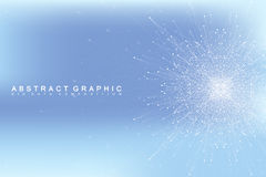 Graphic abstract background communication. Big data visualization. Perspective backdrop with connected lines and dots Royalty Free Stock Image