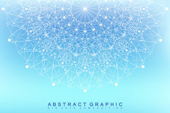Graphic abstract background communication. Big data visualization. Perspective backdrop with connected lines and dots Royalty Free Stock Photo