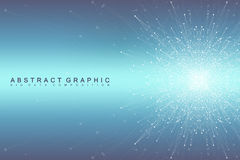 Graphic abstract background communication. Big data visualization. Perspective backdrop with connected lines and dots Stock Photo