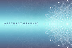 Graphic abstract background communication. Big data visualization. Perspective backdrop with connected lines and dots Stock Image