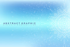 Graphic abstract background communication. Big data visualization. Perspective backdrop with connected lines and dots Stock Photography