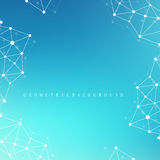 Graphic abstract background communication. Geometric scientific pattern with compounds. Minimal array lines and dots. Digital data visualization.Scientific stock illustration