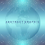 Graphic abstract background communication. Geometric scientific pattern with compounds.. Minimal array lines and dots. Digital data visualization. Scientific Royalty Free Stock Images