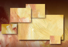 Graphic abstract background yellow. Digital background illustration design of geometric rectangles composed of textured oil paint brush strokes Stock Image