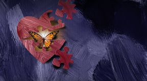 Free Graphic Abstract Butterfly Emrges From Opening Heart With Puzzle Piece Shapes Background Stock Photo - 159391970
