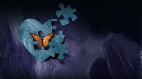 Free Graphic Abstract Butterfly Escapes Heart With Puzzle Piece Opening Background Royalty Free Stock Photo - 159391825