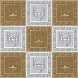 Graphic pattern with a bas-relief of Ramadan 36. Graphic abstract decorative tile with Ramadan patterns. Suitable for textile, wallpaper, wrapping, packaging Stock Photos