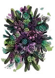 Graphic abstract illustration of beautiful flowers Stock Images