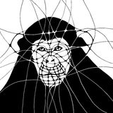 Graphic abstract illustration with monkey. Graphic monochrome illustration with monkey Stock Images