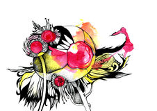 Graphic abstraction, fantasy flower, red, yellow Stock Image