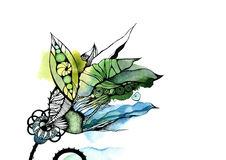 Graphic abstraction, fantasy, green, blue, flower Royalty Free Stock Photos