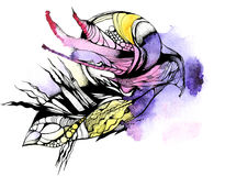 Graphic abstraction, fantasy, purple, yellow, flower, black, watercolor Stock Photography
