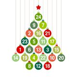 Advent Calendar Christmas Tree Of Hanging Christmas Balls Green And Red royalty free illustration