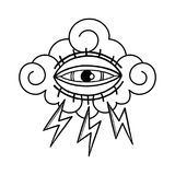 Graphic all seeing eye. Graphic illustration of all seeing eye with lightnings over the cloud. Vector tattoo design in old school style isolated on white Stock Photo