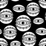 Graphic all seeing eye. Graphic seamless pattern of all seeing eyes. Vector tattoo design in old school style. Coloring book page for adults and kids Stock Photos
