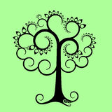 Graphic apple tree. Black graphic apple tree on light green background Royalty Free Stock Photos