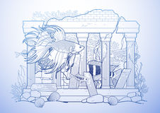 Graphic aquarium fish with architectural sculpture. Drawn in line art style.  under water scenery in blue colors. Ancient Roman architecture Stock Images