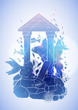 Graphic aquarium fish with architectural sculpture. Drawn in line art style.  under water scenery in blue colors. Ancient Roman architecture Royalty Free Stock Image