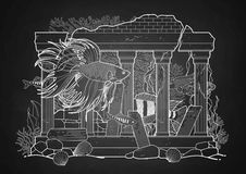 Graphic aquarium fish with architectural sculpture. Drawn in line art style. Under water scenery  on the chalkboard. Ancient Roman architecture Stock Images