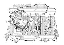 Graphic aquarium fish with architectural sculpture. Drawn in line art style. Under water scenery  on the white background. Coloring book page design for adults Stock Image