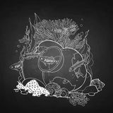 Graphic aquarium fish with broken jar. Drawn in line art style. Under water scenery  on the chalkboard Stock Image