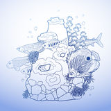 Graphic aquarium fish with coral reef. Drawn in line art style.  underwater scenery in blue colors Stock Photo