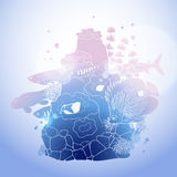 Graphic aquarium fish with coral reef. Drawn in line art style.  underwater scenery in blue colors Stock Photography