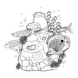 Graphic aquarium fish with coral reef. Drawn in line art style. Underwater scenery  on the white background. Coloring book page design for adults and kids Stock Photography