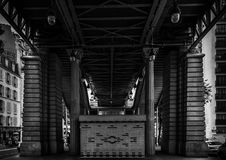 Graphic architecture. Of one of the bridge of the Parisian subway Royalty Free Stock Photo