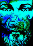 Graphic art design, face of Jesus Christ, computer collage version. Eye contact. Spiritual concept. Royalty Free Stock Images