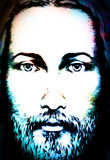 Graphic art design, face of Jesus Christ, computer collage version. Eye contact. Spiritual concept. Graphic art design, face of Jesus Christ, computer collage vector illustration