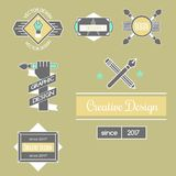 Graphic art design logo company identity decoration collection. Abstract business shape and technology modern web geometric tag vector illustration. Designer Stock Photo