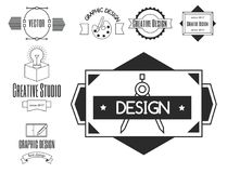 Graphic art design logo company identity. Graphic art design logo company identity decoration collection abstract business shape and technology modern web Royalty Free Stock Images