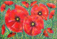 Graphic art poppy blossoms on green background Royalty Free Stock Photos