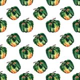 Graphic artistic abstract bright cute autumn ripe tasty colorful. Halloween green pumpkins pattern watercolor hand illustration. Perfect for textile, wallpapers Stock Images