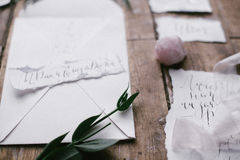 Graphic arts of beautiful wedding calligraphy cards with flower and mineral stone. Royalty Free Stock Photo