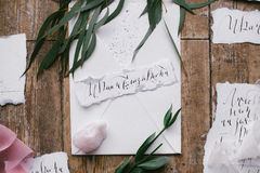 Graphic arts of beautiful wedding calligraphy cards with flower and mineral stone. Royalty Free Stock Images