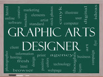 Graphic Arts Designer Word Cloud Concept on a Blackboard Royalty Free Stock Photo