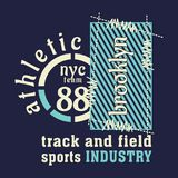 Graphic ATHLETIC, NYC, BROOKLYN Stock Photos