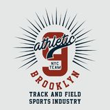Graphic ATHLETIC NYC TEAM BROOKLYN. Design alphabet and numbers ATHLETIC NYC TEAM BROOKLYN for t-shirts Royalty Free Stock Photography